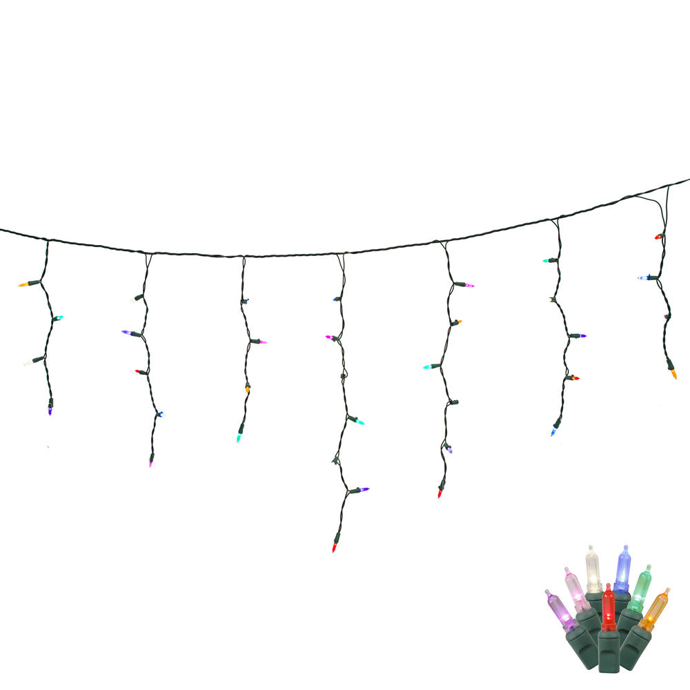 70 Multi Color LED Lights / Green Wire 9Ft. Icicle Christmas Light Set