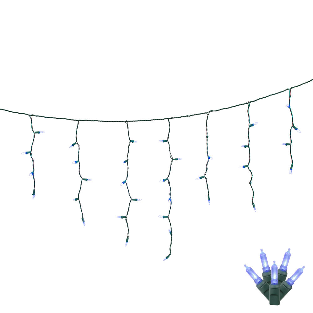 70 Blue LED Lights / Green Wire 9Ft. Icicle Christmas Light Set