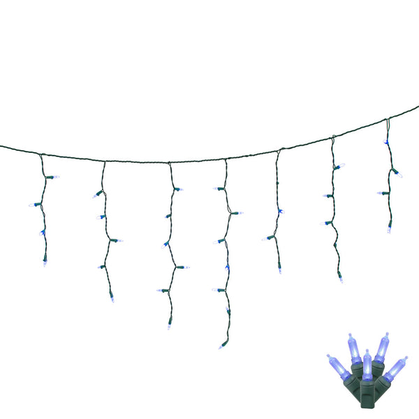 70 Blue LED Lights / Green Wire 9Ft. Icicle Christmas