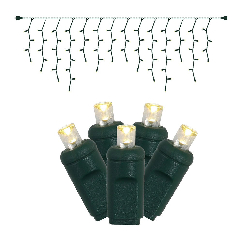 6PK - 9Ft. Icicle LED70Lt. Pure White Wide Angle Lights Green Wire