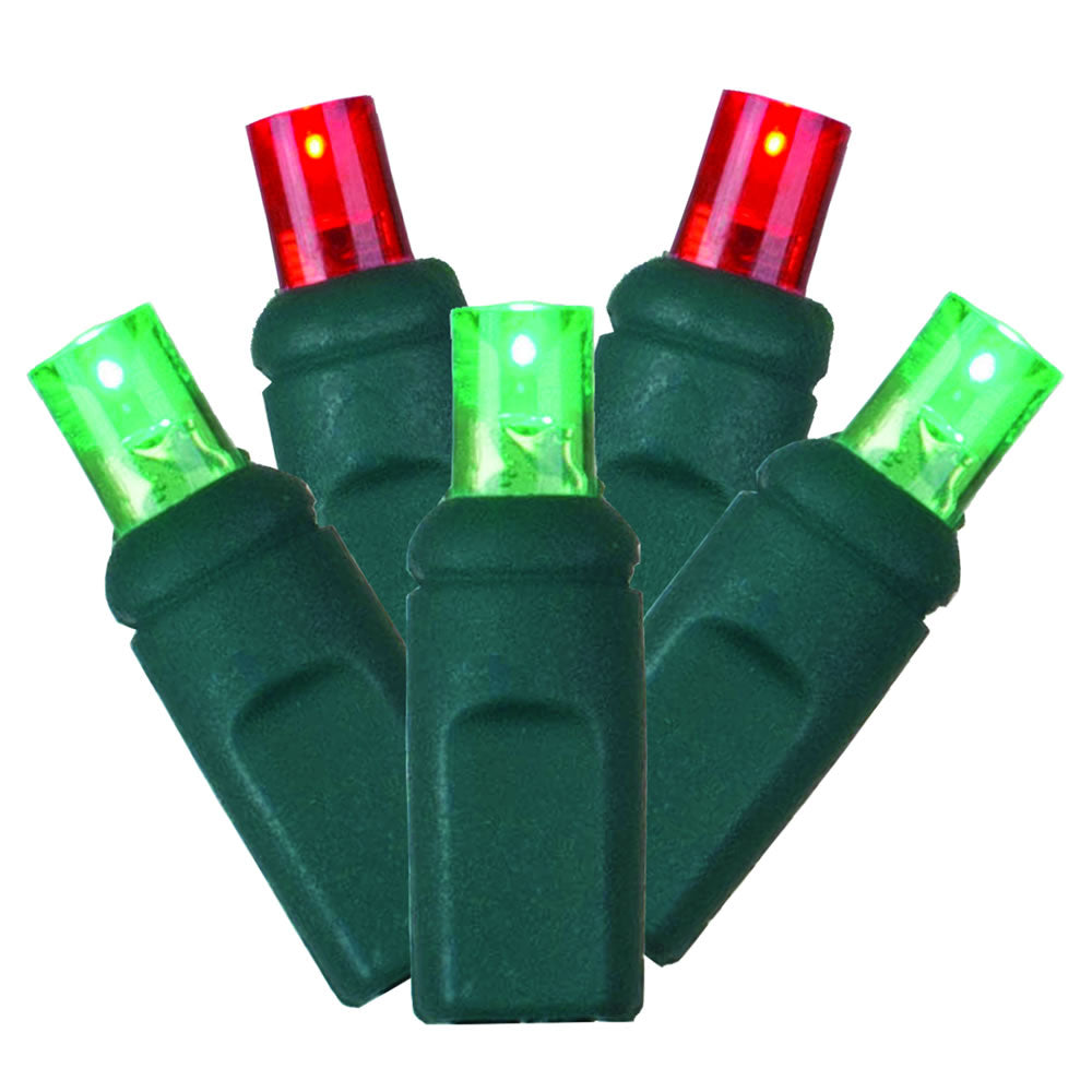 4PK - 25Ft. LED String 50Lt. Red, Green Wide Angle Lights Green Wire