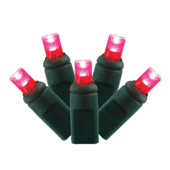 4PK - 25Ft. LED String 50Lt. Magenta Wide Angle Lights Green Wire