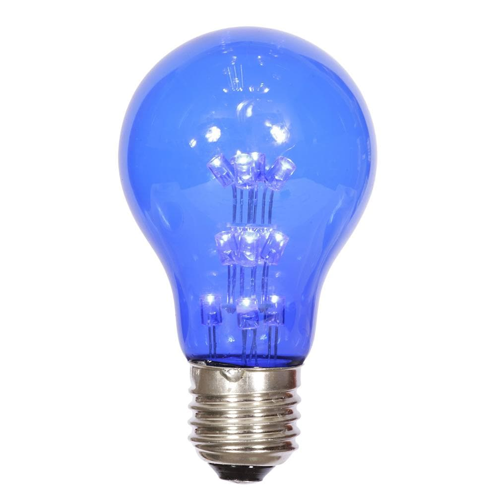 A19 LED 1W Blue Transparent E26 Nickel Base Bulb