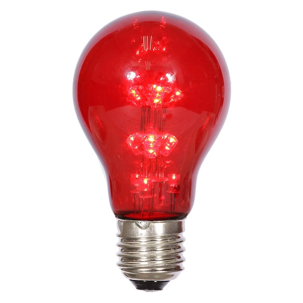 A19 LED Red Transparent Bulb E26 Nk Base