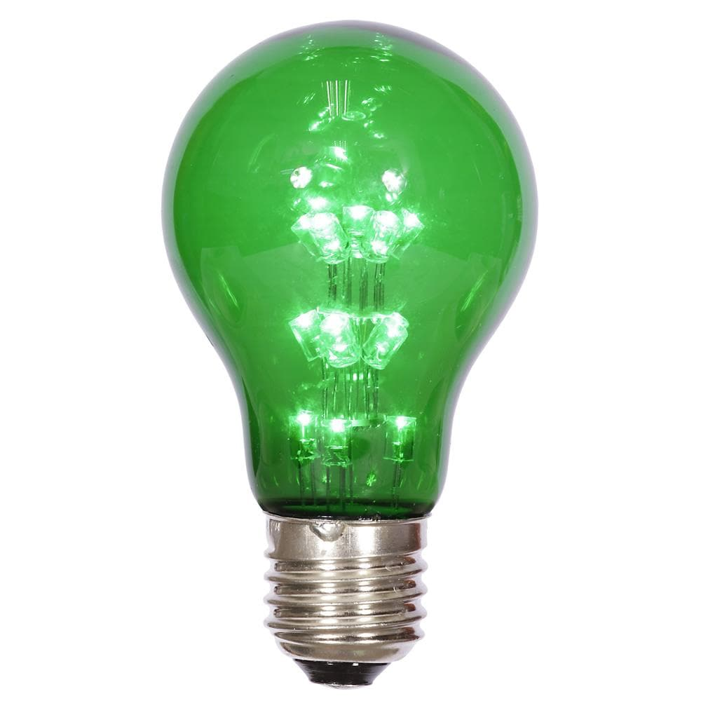 A19 LED Green Transp Bulb E26 Nk Base