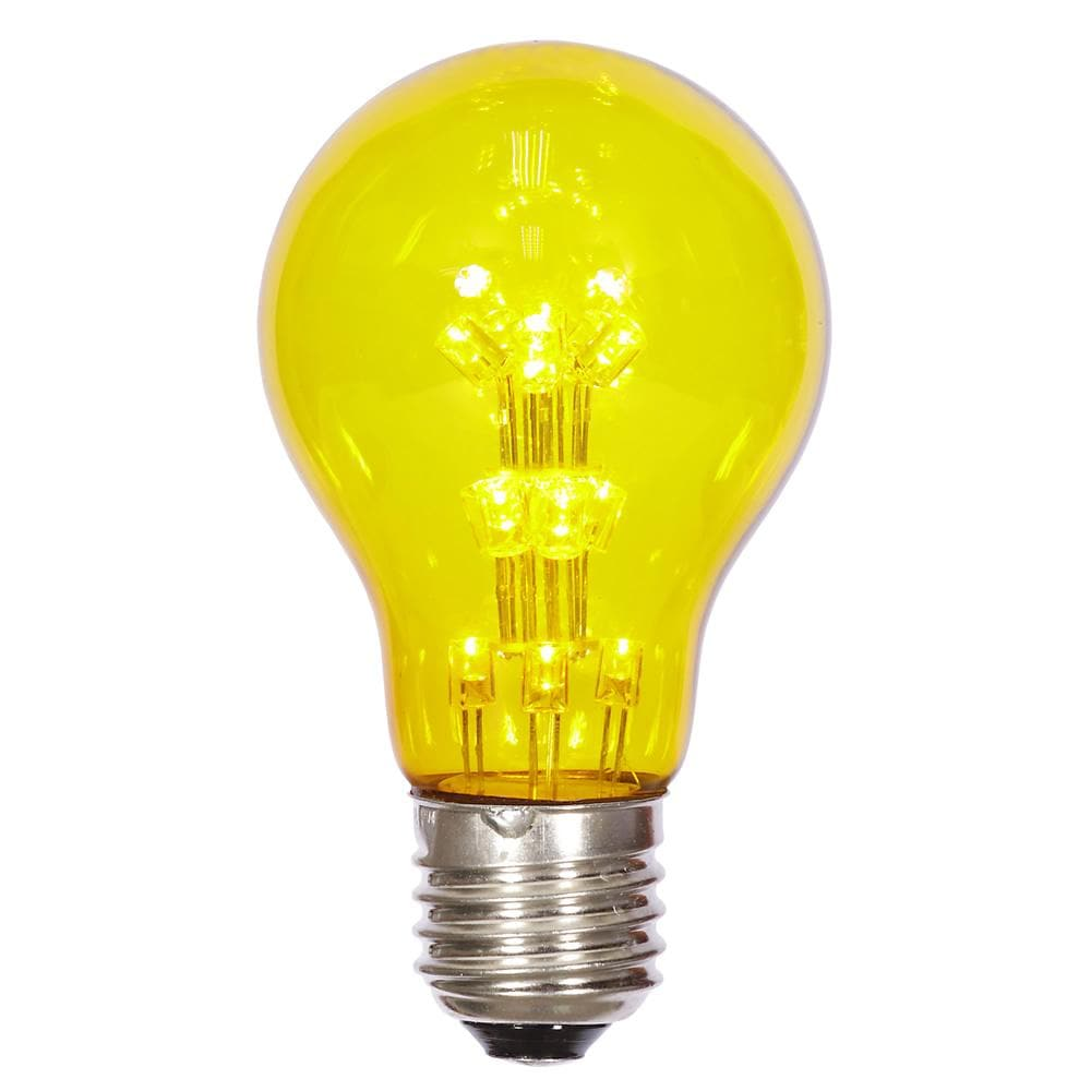 A19 LED Yellow Transparent Bulb E26 Nickel Base Bulb