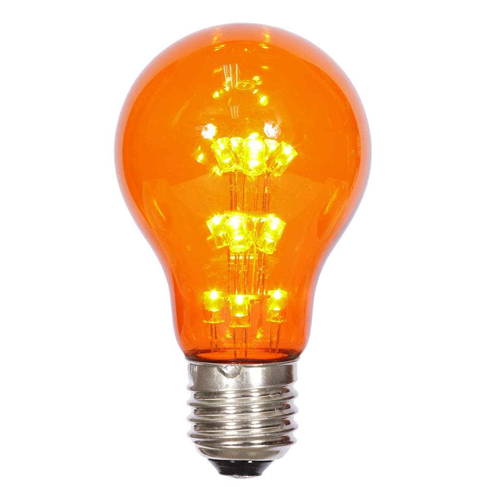 A19 LED Amber Transp Bulb E26 Nk Base