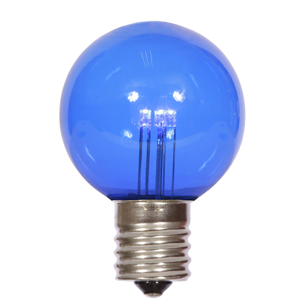 25PK - Vickerman G50 Blue Transparent Glass LED Replacement Bulb