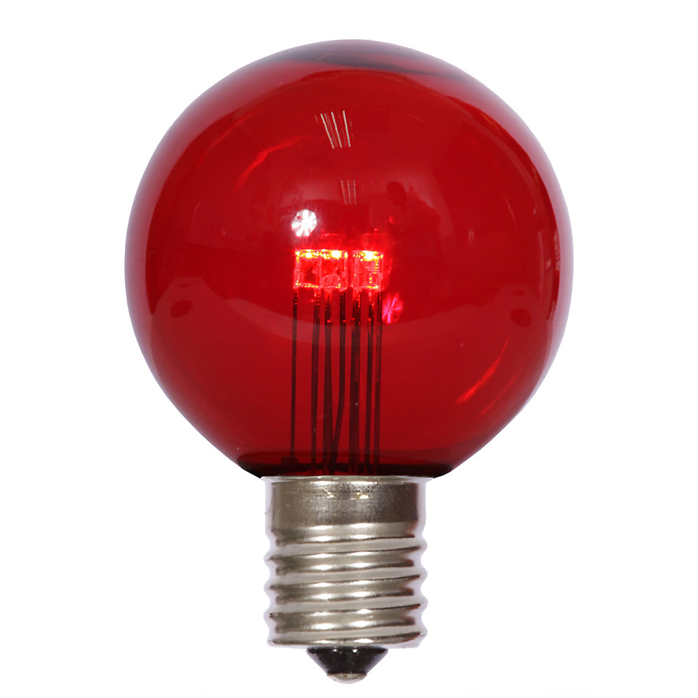 25PK - Vickerman G50 Red Transparent Glass LED Replacement Bulb