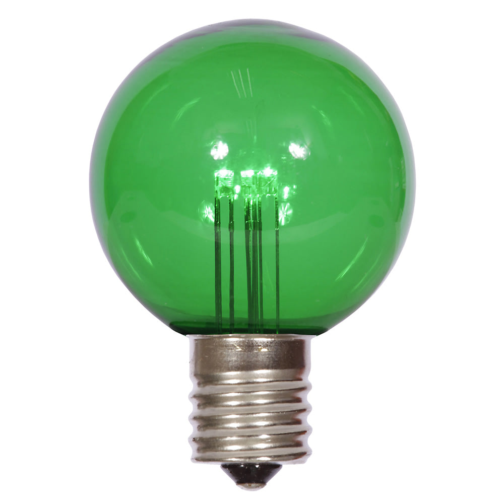 25PK - Vickerman G50 Green Transparent Glass LED Replacement Bulb