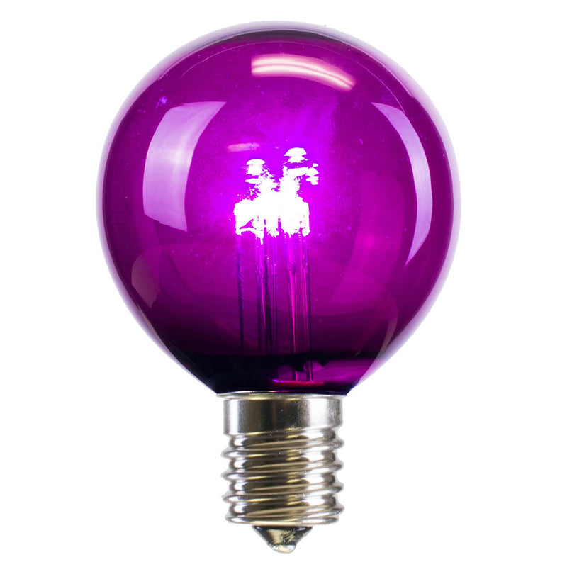 25PK - Vickerman G50 Purple Transparent Glass LED Replacement Bulb