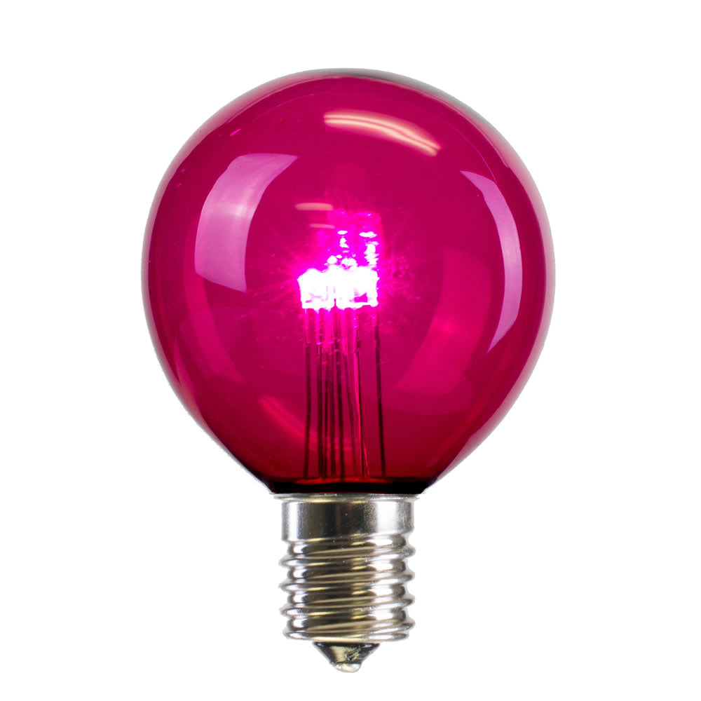 25PK - Vickerman G50 Pink Transparent Glass LED Replacement Bulb