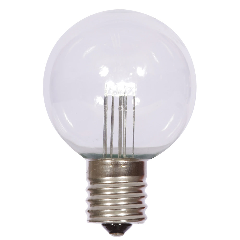 25PK - Vickerman G50 Pure White Transparent Glass LED Replacement Bulb