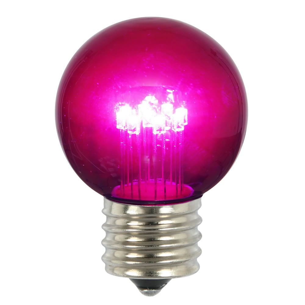 5PK -Vickerman Purple Glass G50 Transparent LED Replacement Bulb