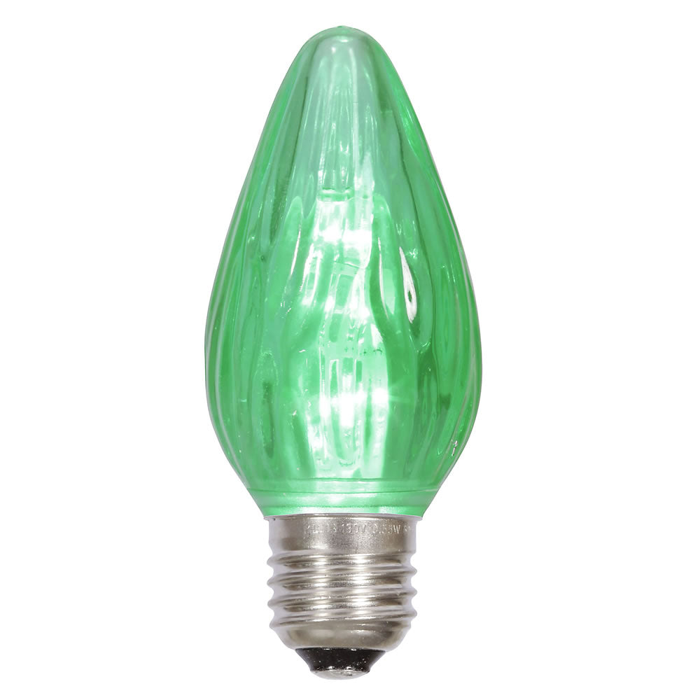 25PK - F15 Green Plastic Flame LED E26 base 0.96W