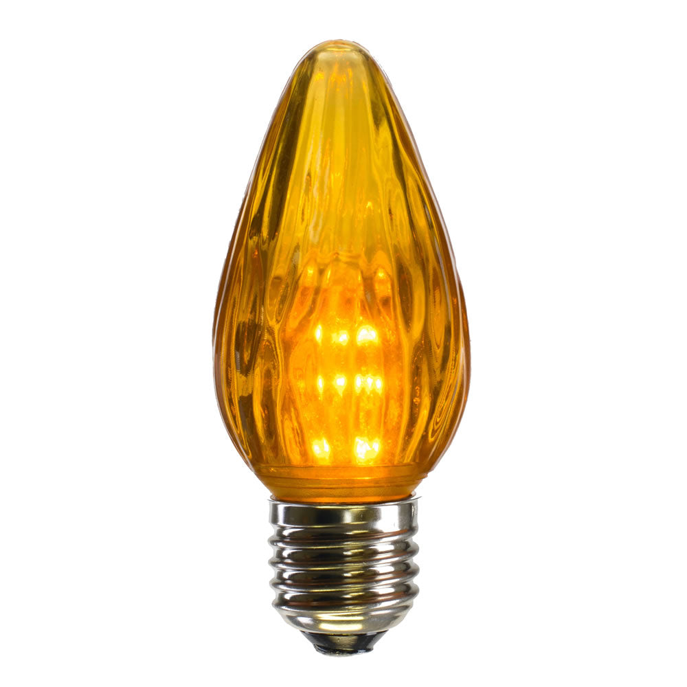 25 Pack - 0.96W F15 Gold Plastic Led Flame Replacement Christmas Light Bulb