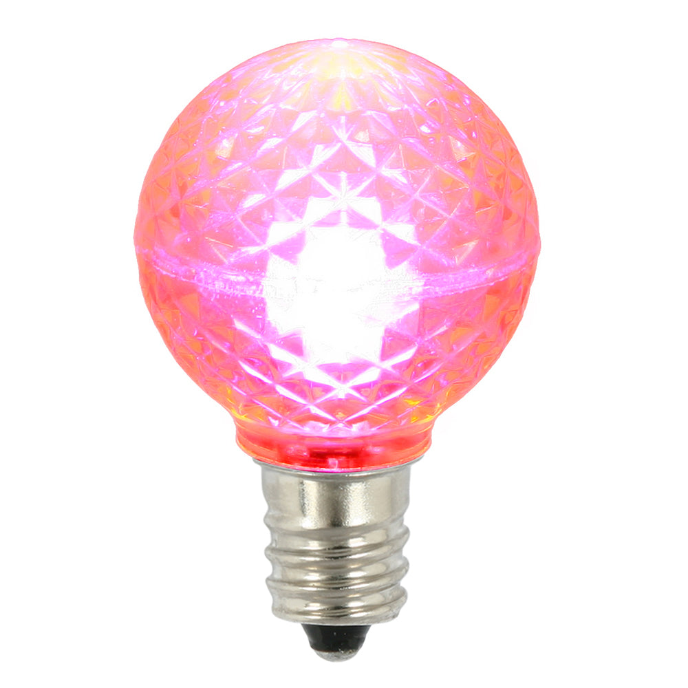 25 Pack - Vickerman G30 Faceted LED Pink Bulb E12 .38W