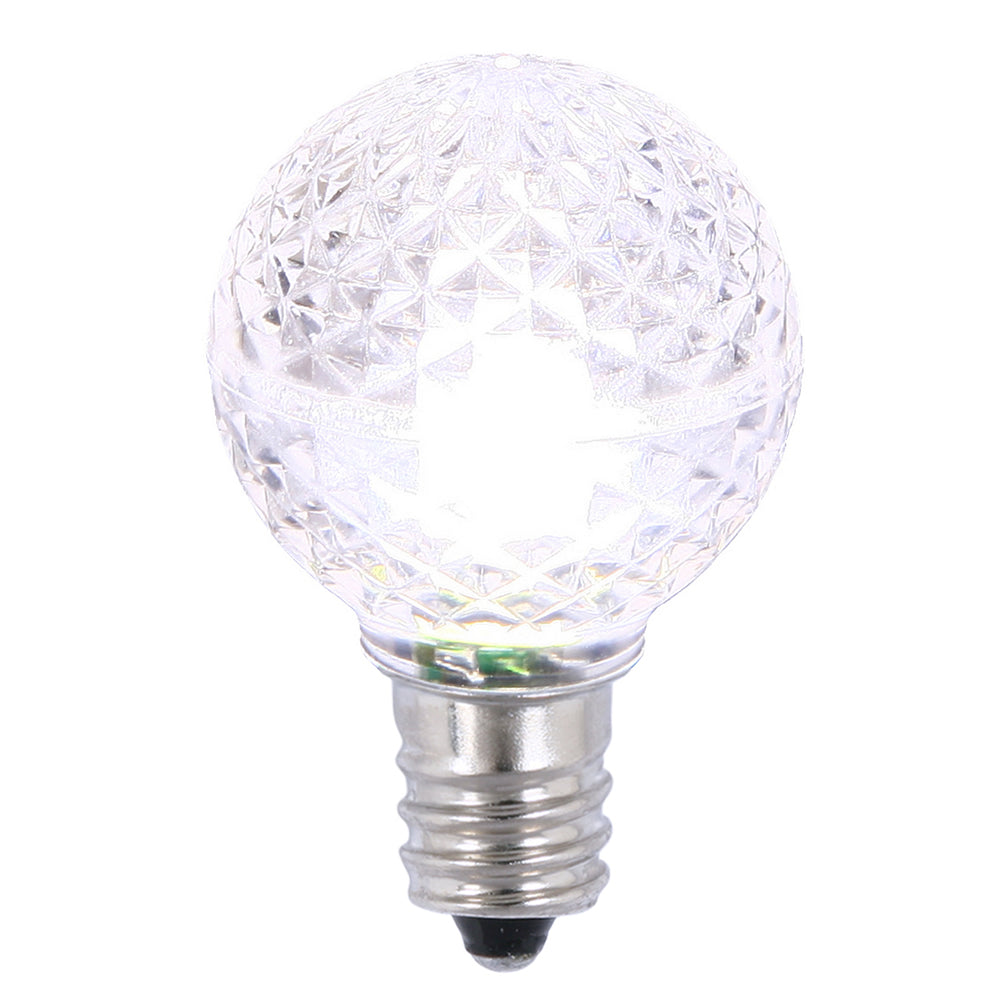 25PK - Vickerman Pure White Faceted G30 LED Replacement Bulb