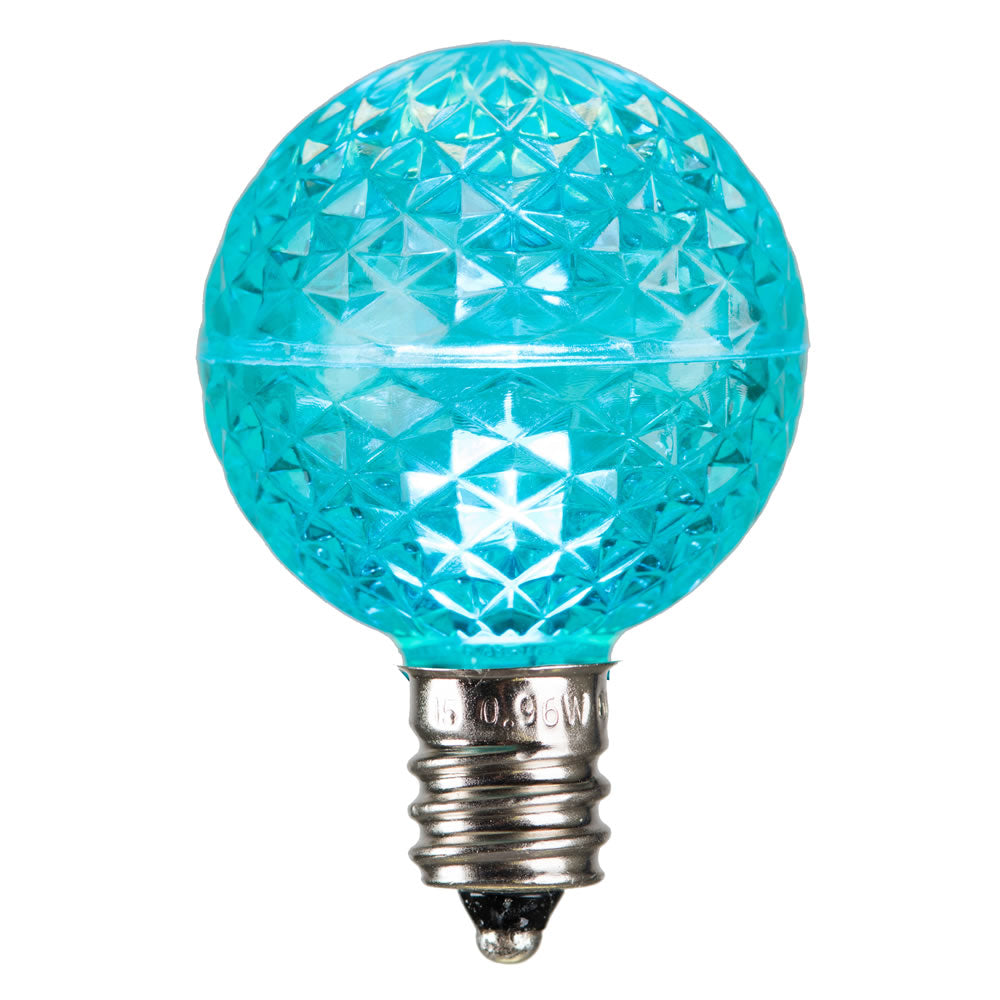 25 Pack - Vickerman G40 Faceted LED Teal Bulb E12 .38W