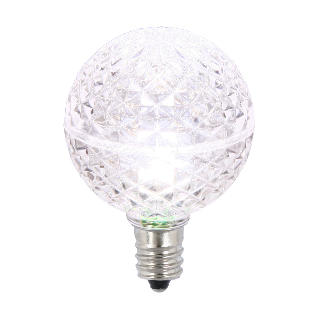 25PK - Vickerman Pure White Faceted G40 LED Replacement Bulb