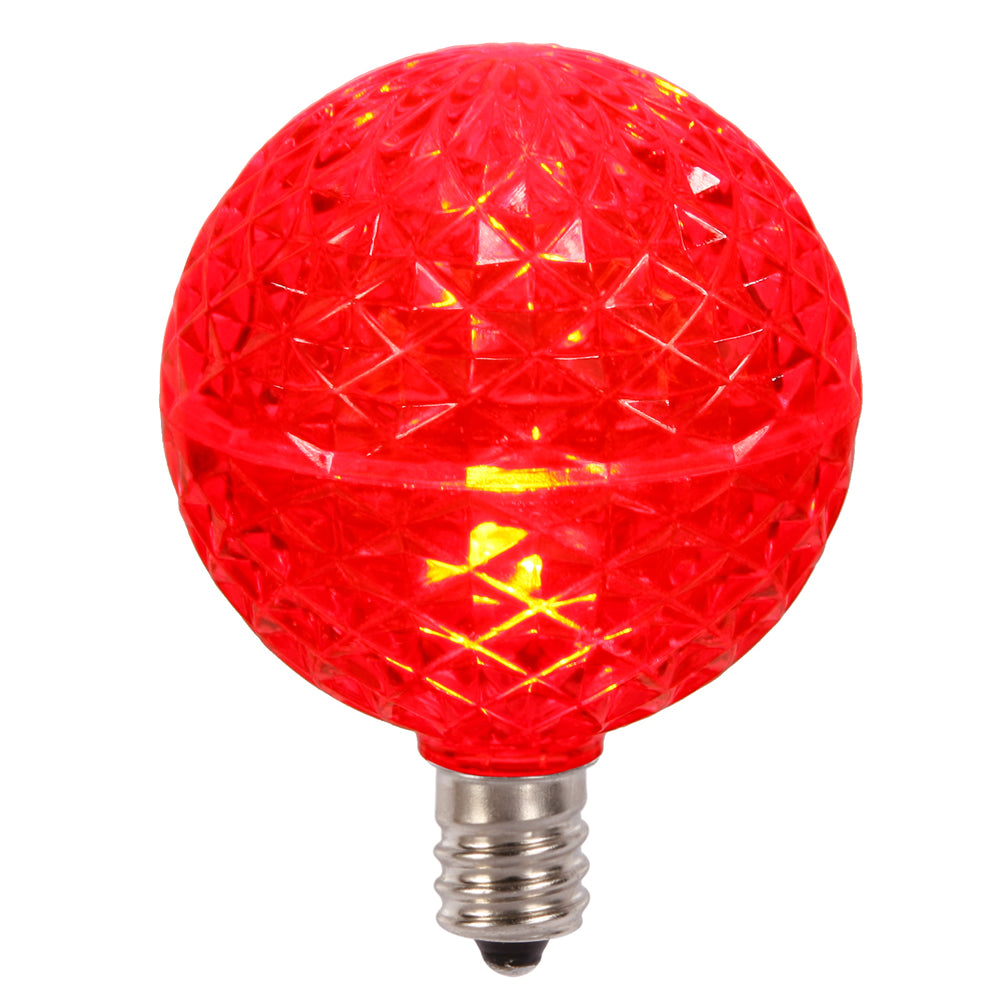 10PK - Vickerman Red Faceted G50 LED Replacement Bulb