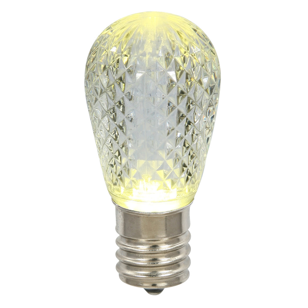 10PK - 0.96W 11S14 Faceted Warm White LED Replacement Christmas Light Bulb