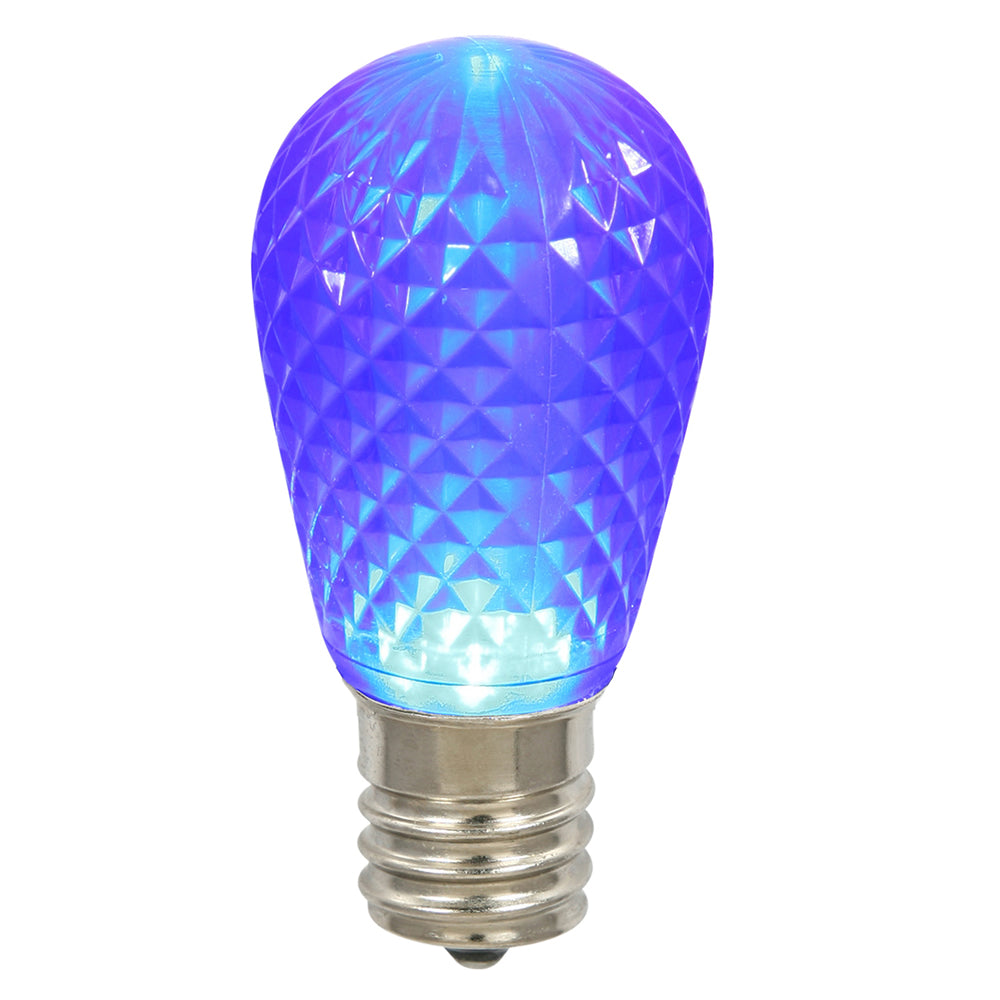 25 Pack - 0.96W 11S14 Faceted Blue LED Replacement Christmas Light Bulb