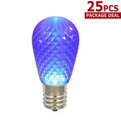 10PK - 0.96W 11S14 Faceted Purple LED Replacement Christmas Light Bulb