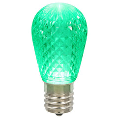 25 Pack - 0.96W 11S14 Faceted Green LED Replacement Christmas Light Bulb
