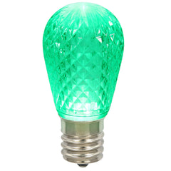 0.96W 11S14 Faceted Green LED Replacement Christmas Light Bulb
