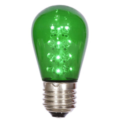 25PK - Vickerman S14 LED Green Transparent Bulb E26 Nk Base