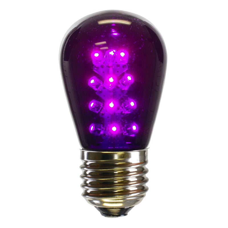 25PK - Vickerman S14 LED Purple Transparent Bulb E26 Nk Base