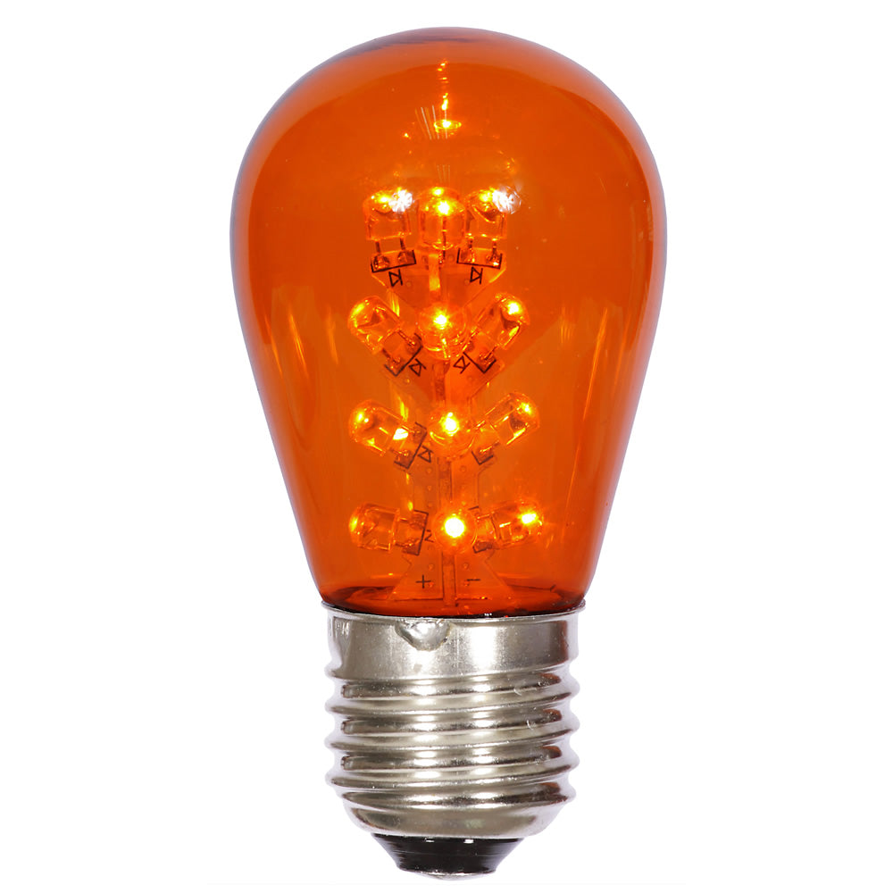 25PK - Vickerman S14 LED Amber Transparent Bulb E26 Nk Base