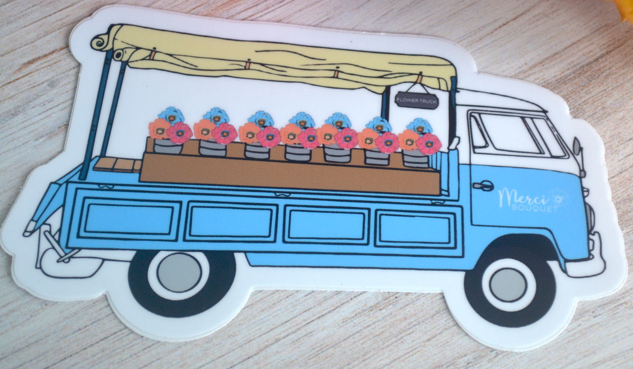 Flower Truck Side View Sticker