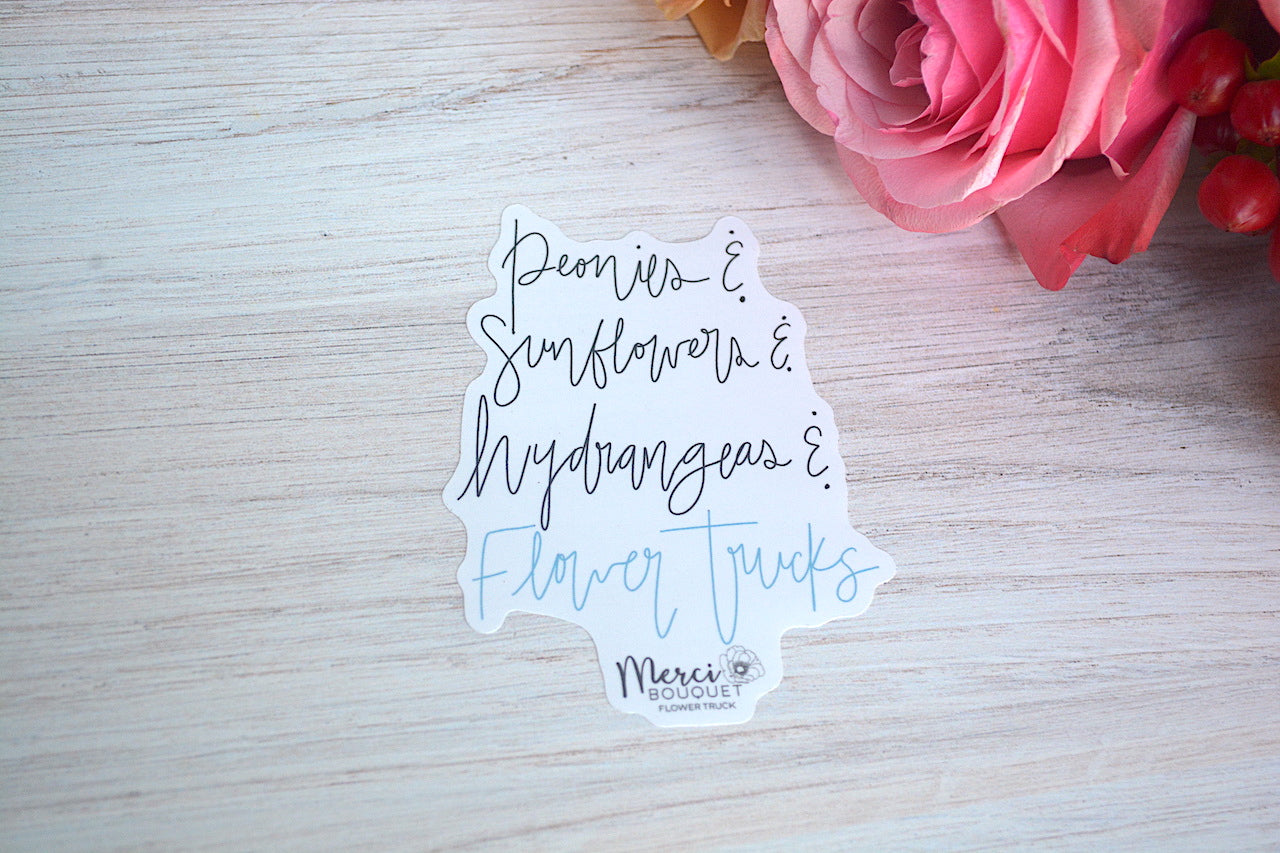 Flower Name Script Sticker