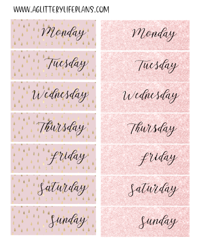 Fancy Pink Days of the Week Date Covers