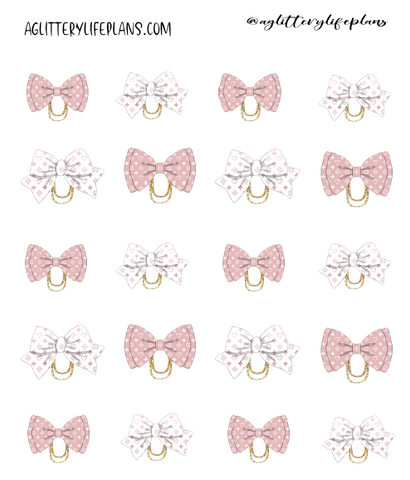 Pink and white Bow paper clip stickers
