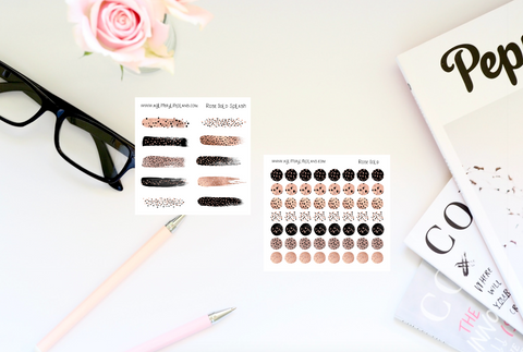 Rose Gold Transparent Dots and Splash Stickers - Transparent Brush Strokes