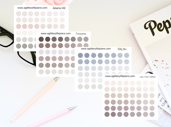 LA Color Ways Transparent Matte Clear Dot Stickers- 4 Color Ways to Select From - Neutral color ways