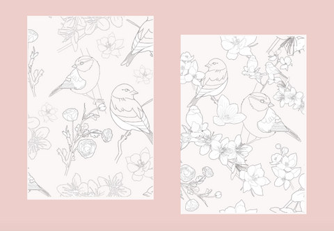 Birds and Flowers set of 2 Vellum Dashboards for Ring Planners and Travelers Notebook