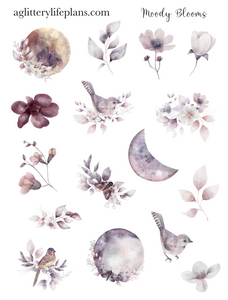 Moody Blooms Floral Deco Icon Sheet Stickers
