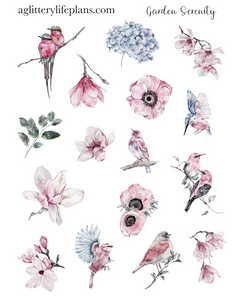 Garden Serenity Floral  Deco Icon Sheet Stickers