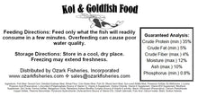 Load image into Gallery viewer, Ozark Fisheries Fish Food Facts