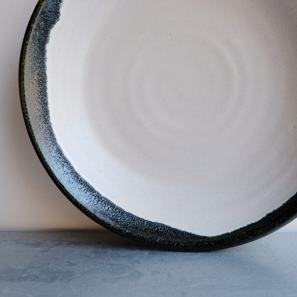 Serving Bowl in Bone with Black Fringe.