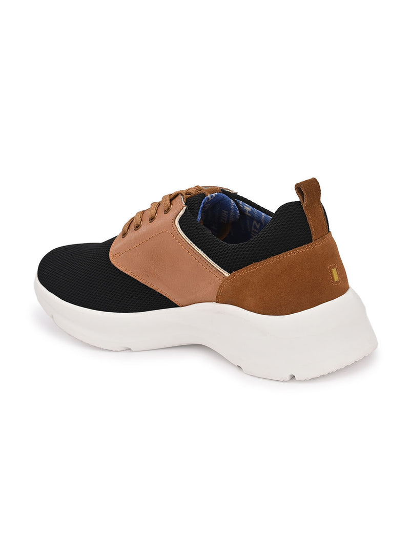 Hitz Black Tan Lace-up Sport Shoes