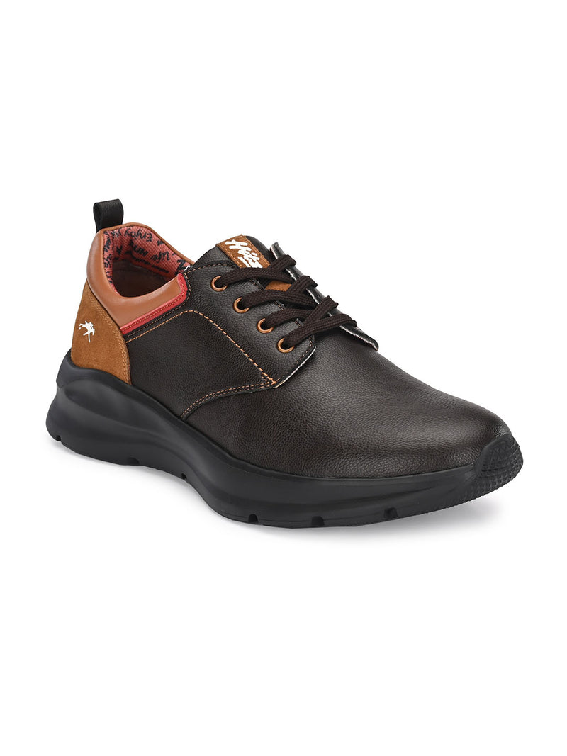 Hitz Men Brown Leather Derby Shoes
