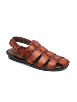 Men Brown Leather Sandals with Velcro Fastening