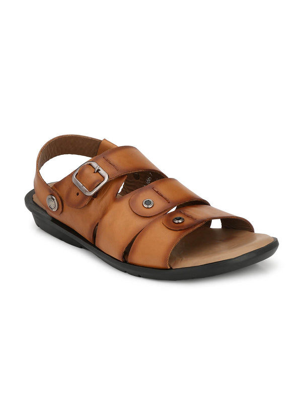 Men Tan Leather Sandals with Buckle Closure