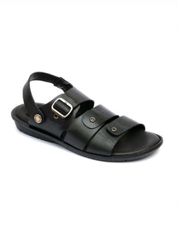 Men Black Leather Sandals with Buckle Closure