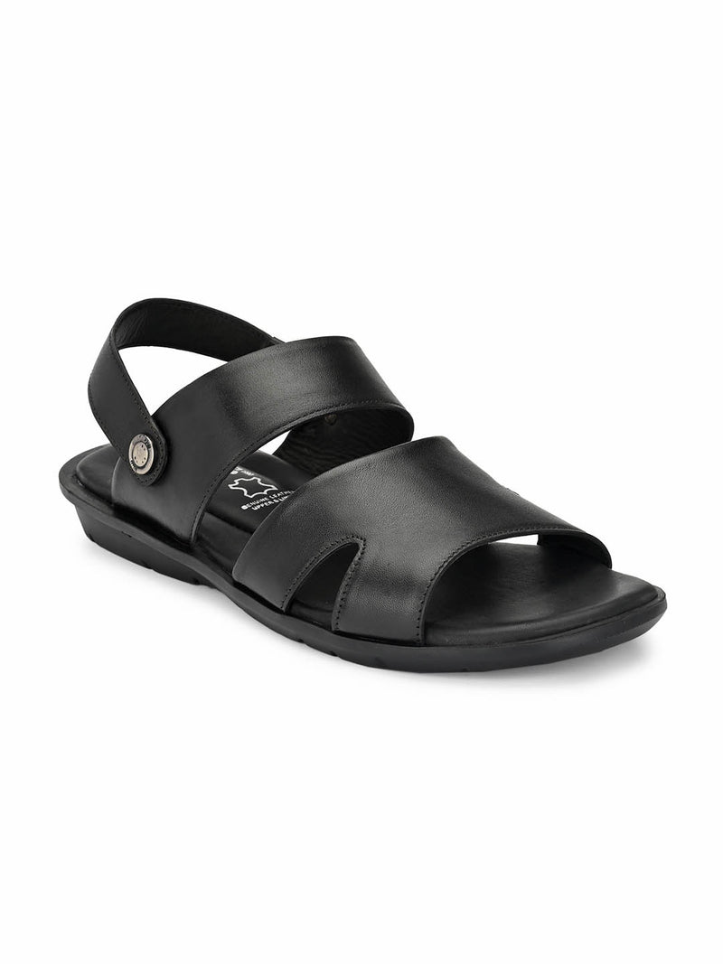 Men Black Leather Slip-On Sandals